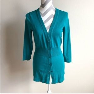 The limited teal sweater cardigan M NWT